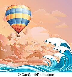 Hot air balloon over ocean at dawn