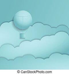 Hot air balloon paper art style.