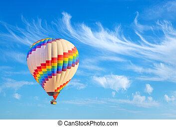 Hot-air balloon and blue sky.