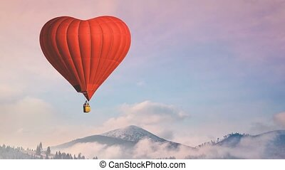 Hot air balloon. Red Heart fly in pastel sky - Hot air...
