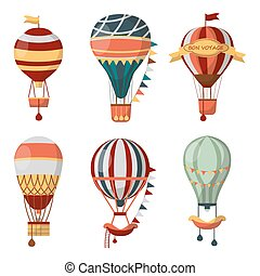 Hot air balloon retro vector icons bon voyage balloons...
