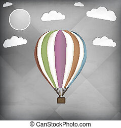 Hot air balloon retro vector illustration