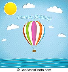 Hot air balloon retro vector illustration