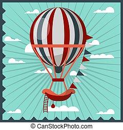 Hot air balloon retro vector poster