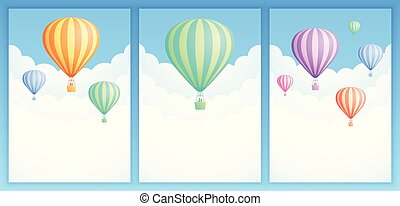 Hot air balloon sky adventure banner collection