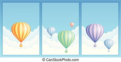 Hot air balloon sky flight carnival template set