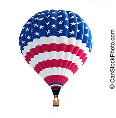hot air balloon usa flag isolated on a white background