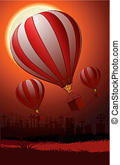 hot air balloon - illustration of hot air balloon flying in...