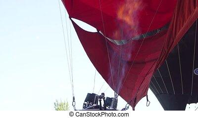 Hot air balloon - Pilot testing burner of Hot air balloon....