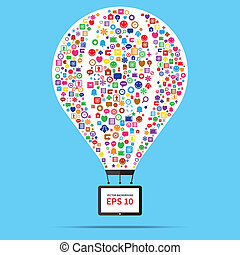 Hot air balloon web and internet business startup concept -...