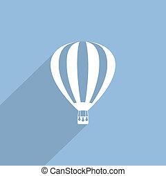 hot air balloon web flat icon.