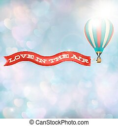 Hot air balloon with banner. EPS 10