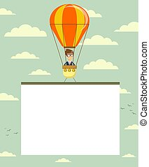 Hot air balloon with banner.