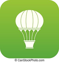 Hot air balloon with basket icon digital green
