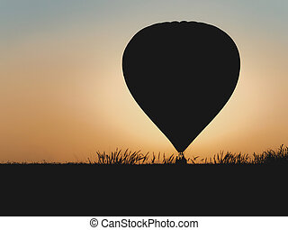 Hot air balloon with beautiful sunset background