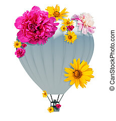 Hot air balloon with flowers isolated white background. 3D...