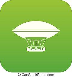 Hot air balloon with gondola basket icon digital green