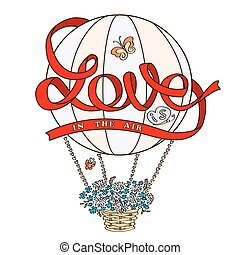Hot air balloon with red ribbon I love You