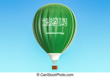 Hot air balloon with Saudi Arabia flag, 3D rendering