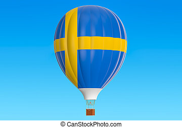 Hot air balloon with Sweden flag, 3D rendering