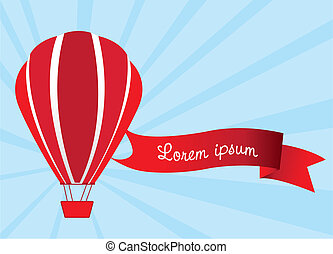 hot air balloon with tape message, vector illustration