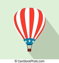 Hot air balloon with USA flag flat icon