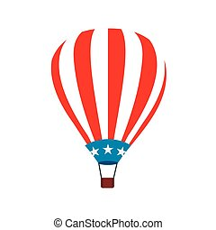 Hot air balloon with USA flag icon