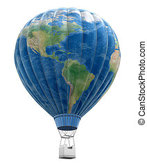 Hot Air Balloon with World Map