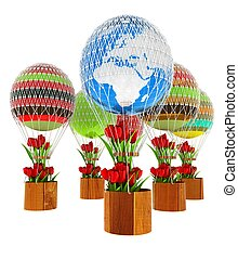 Hot Air Balloons and balloon of Earth and tulips in a basket. 3d render