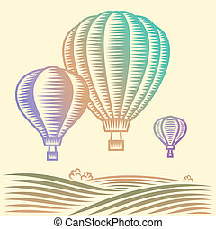 hot air balloons - Balloons flying in the sky over the field