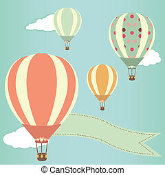 Hot air balloons in the sky. Vector illustration. Greeting...