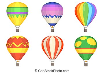 Hot air balloons flat illustration set