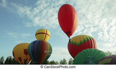 Hot air balloons fly up in the sky