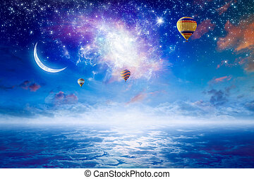 Hot air balloons flying in starry sky with bright stars,...