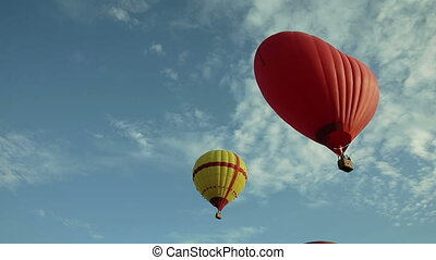 Hot air balloons flying in the sky