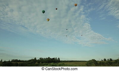 Hot air balloons flying over field in countryside
