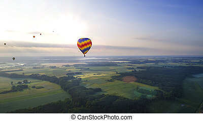 hot air balloons flying over river and field