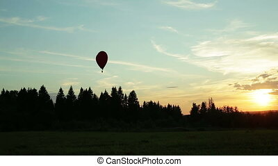 Hot air balloons flying over trees sunset .