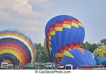 Hot air Balloons inflatiing