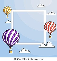 Hot air balloons in blue sky with clouds, frame, copyspace for travel agency, motivation, business development, greeting card, banner, flyer