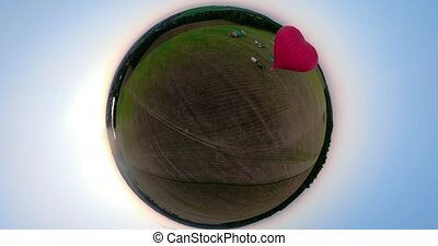 Hot air balloons in sky over field spherical panorama - Hot...