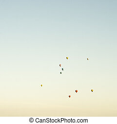 Hot-air balloons in the blue sky