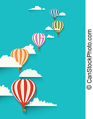 hot air balloons in the clouds
