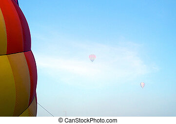 hot air balloons in the morning fog