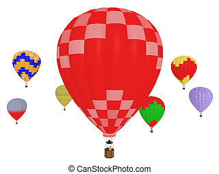 Hot air balloons isolated on white background