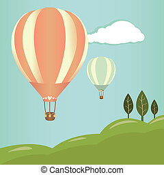 Hot air balloons landscape - Hot air balloons in the sky....