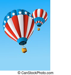 Hot Air Balloons of 4 of July in Flight Background