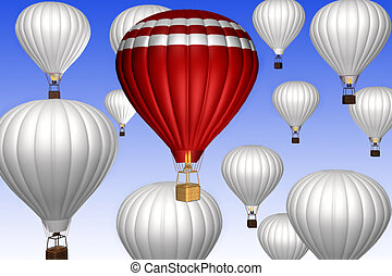 Hot air balloons on a blue sky