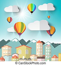 Hot Air Balloons on Sky with City and Mountains Vector Illustration