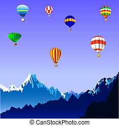 Hot air balloons over the mountains.